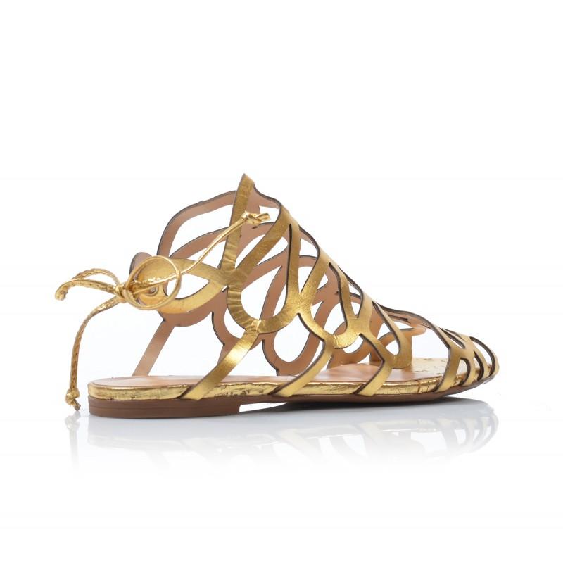 64bf0f414232 Dámske sandále nízke 122047 zlaté - UNISHOES.sk