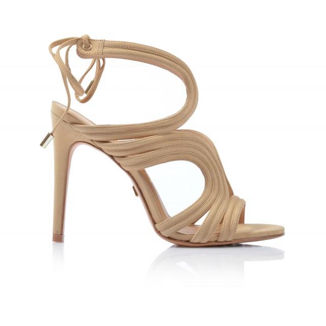Dámske sandále na podpätku 234003 beige