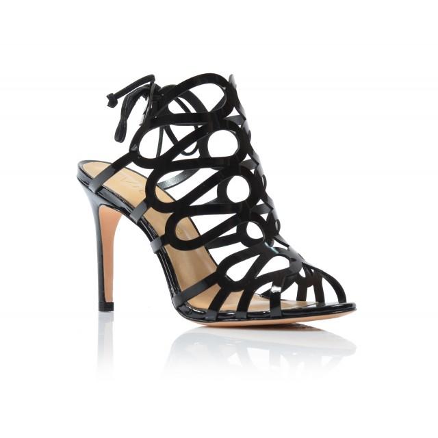 Dámske sandále na podpätku 235001 čierny lak