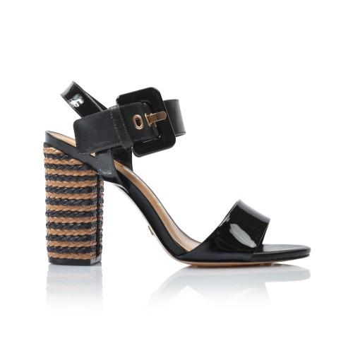 Dámske sandále na podpätku 242002 čierne+lak
