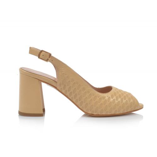 Dámske sandále na podpätku 0030-955 béžová