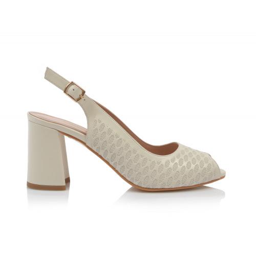 Dámske sandále na podpätku 0030-955 smotanová