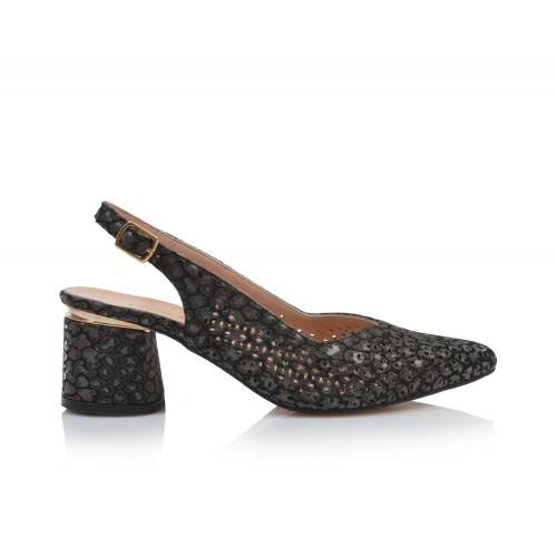 Dámske sandále na podpätku 0030-974 čierna