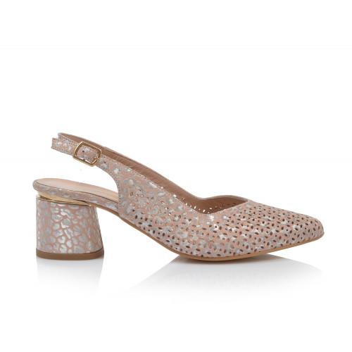Dámske sandále na podpätku 0030-974 púdrová