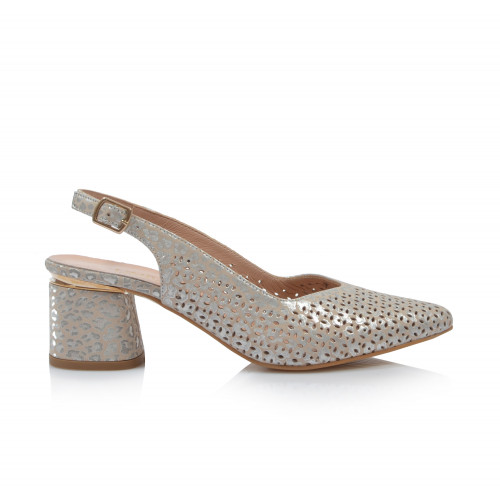 Dámske sandále na podpätku 0030-974 strieborná béžová