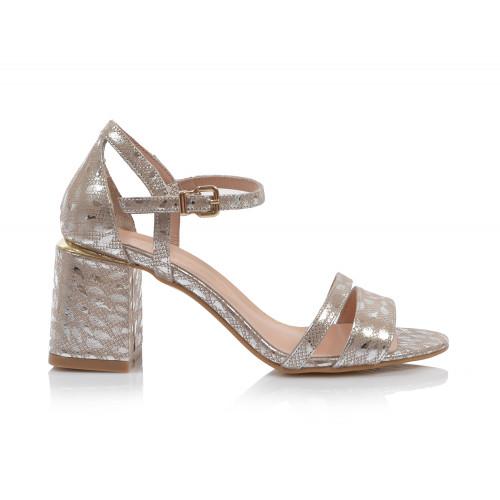 Dámske sandále na podpätku 0030-980 strieborná