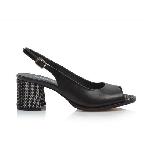 Dámske sandále na podpätku 0431-2218 čierna
