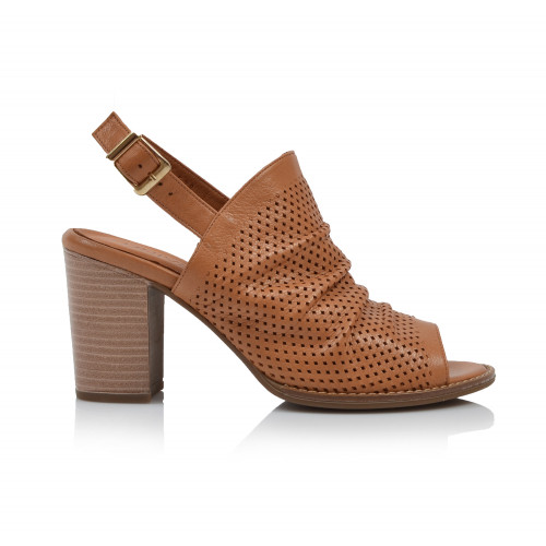 Dámske sandále na podpätku 0052-1053 koňaková