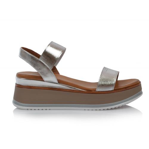 Dámske sandále na platforme 774004 strieborná