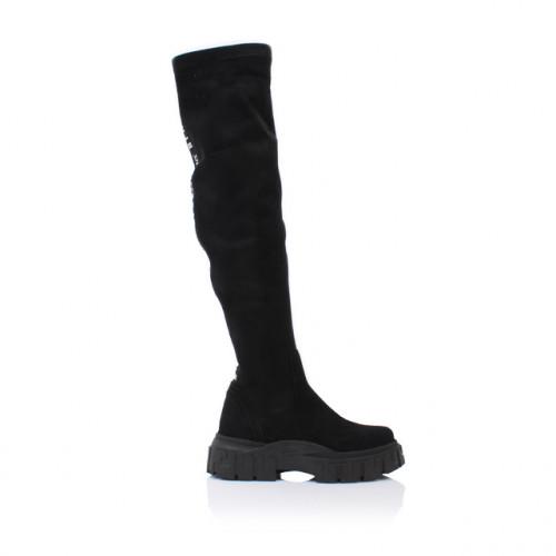 Dámske čižmy nad koleno 0010-7086ls čierna
