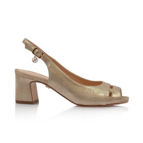 Dámske sandále na podpätku 52210 zlatá