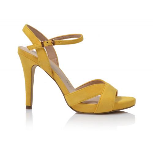 Dámske sandále na podpätku 200660w14  žltá