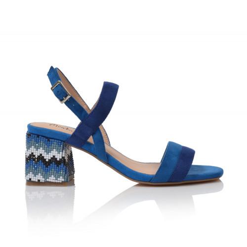 Dámske sandále na podpätku 20249dd66  modrá