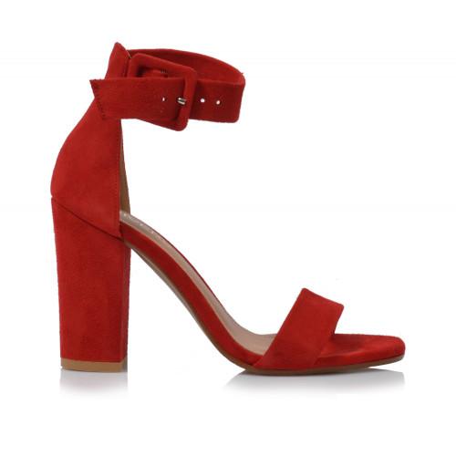 Dámske sandále na podpätku 1826  červená