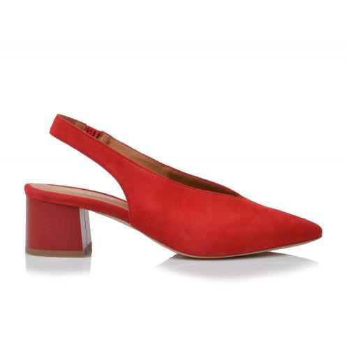 Dámske sandále na podpätku 1987   červená