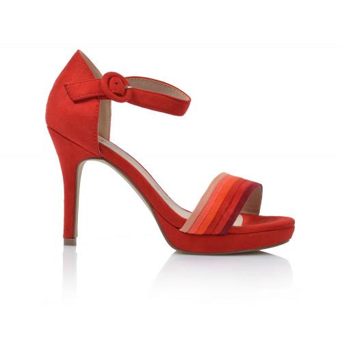 Dámske sandále na podpätku 20141  červená