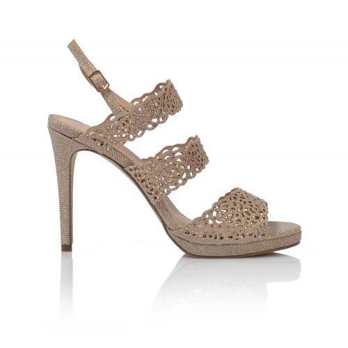 Dámske sandále na podpätku 20460  zlatá