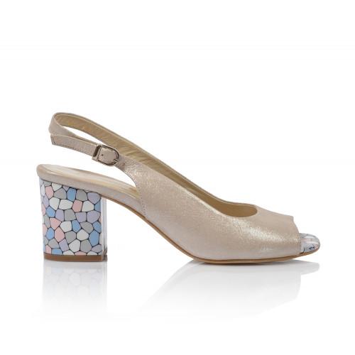 Dámske sandále na podpätku 0085-999  zlatá