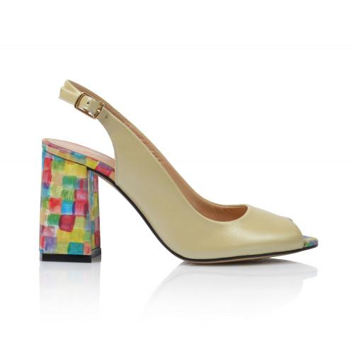 Dámske sandále na podpätku 0413-17795   žltá