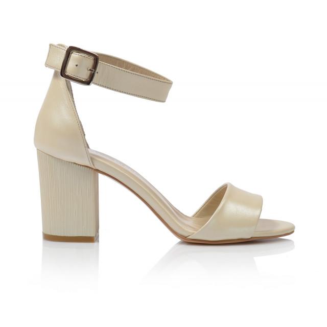 Dámske sandále na podpätku 0415-6037  krémová
