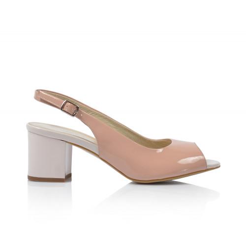 Dámske sandále na podpätku 0431-1004  púdrová