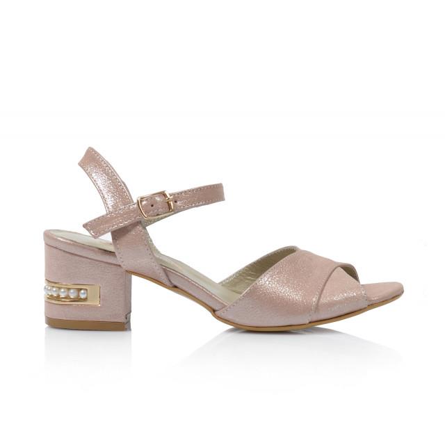 Dámske sandále na podpätku 0627-061  púdrová