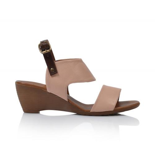 Dámske sandále na podpätku 9n3700  púdrová