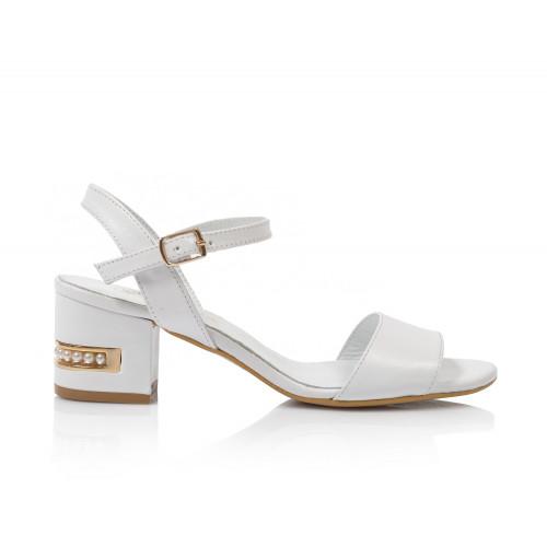 Dámske sandále na podpätku 0627-060  biela