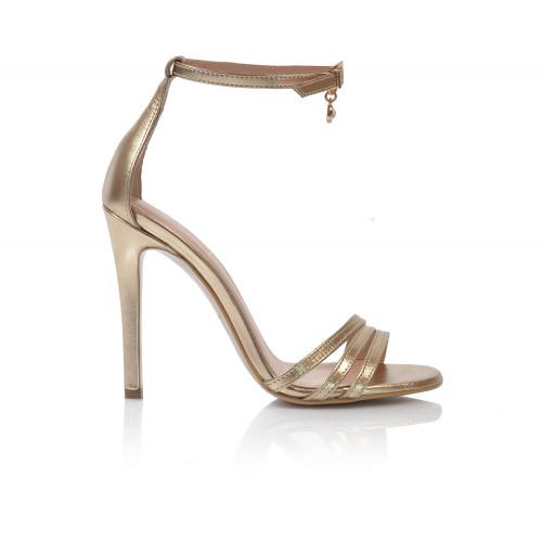 Dámske sandále na podpätku v-3619   zlatá