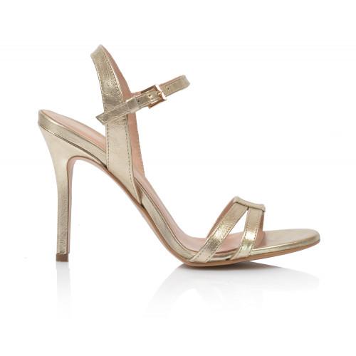 Dámske sandále na podpätku v-4119  zlatá