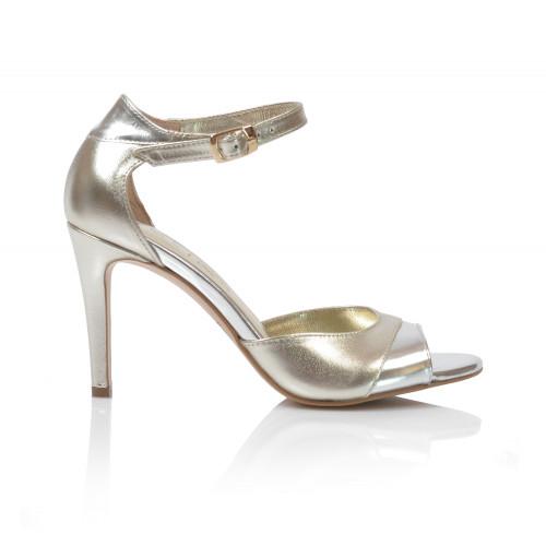 Dámske sandále na podpätku v-4122s  zlatá strieborná
