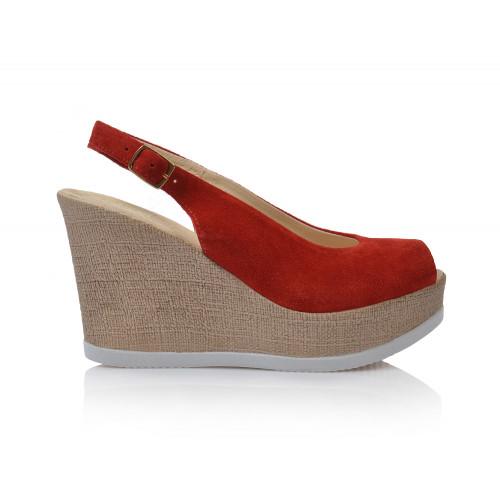 Dámske sandále na platforme 1136  červená