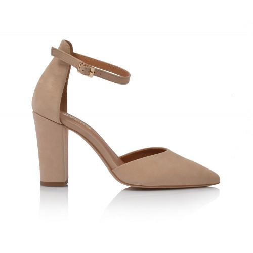 Dámske sandále na podpätku 2046  béžová