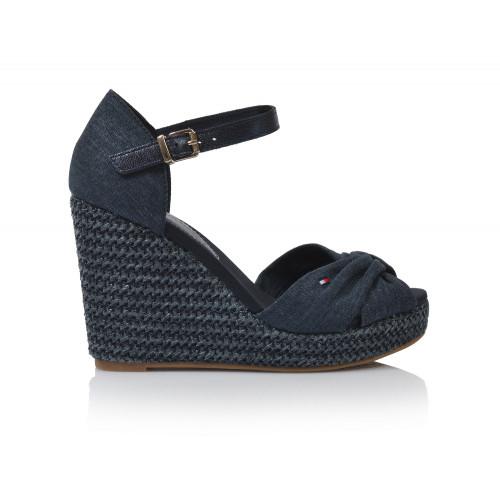 Dámske sandále na platforme fw0fw04080  modrá TOMMY HILFIGER