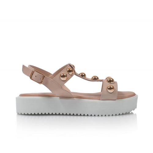 Dámske sandále na platforme 128015  púdrová