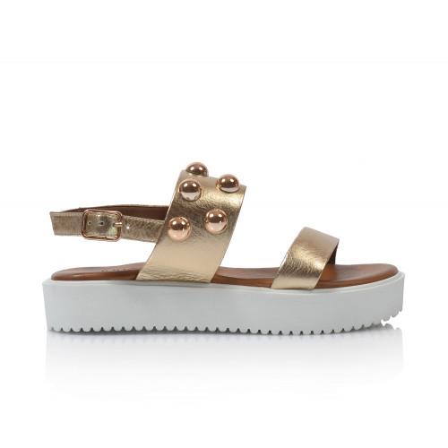Dámske sandále na platforme 128016   zlatá