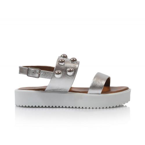 Dámske sandále na platforme 128016  strieborná