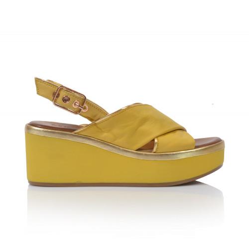 Dámske sandále na platforme 124009  žltá