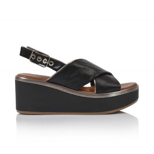 Dámske sandále na platforme 124009 čierna