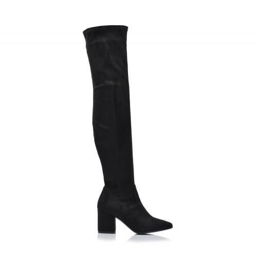Dámske čižmy nad koleno 2154- čierna