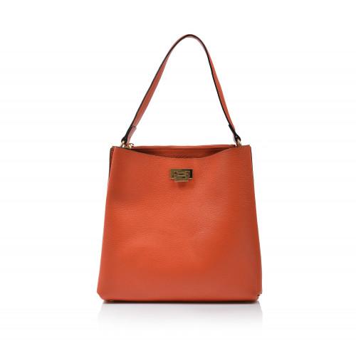 Kabelka kožená klasická 423003 oranžová