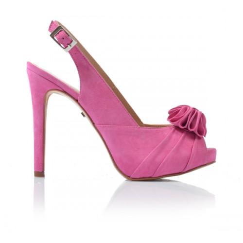 Dámske sandále na podpätku 92805 amarant