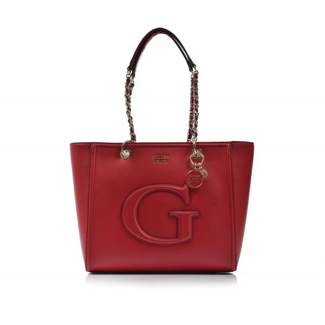 Kabelka kožená klasická vg744023 červená GUESS