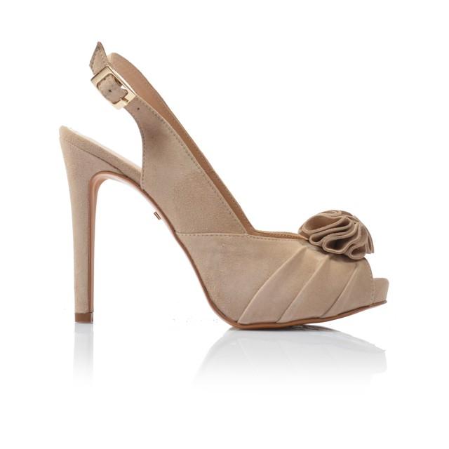 Dámske sandále na podpätku 92805 taupe