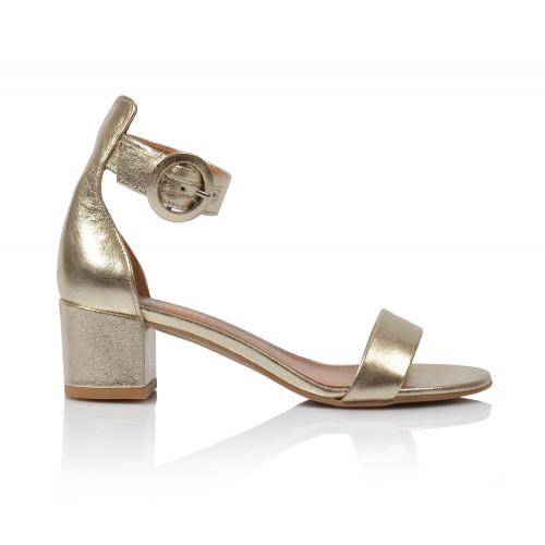 Dámske sandále na podpätku 1713-65 zlatá