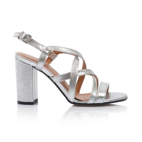 Dámske sandále na podpätku 2308-48 strieborná