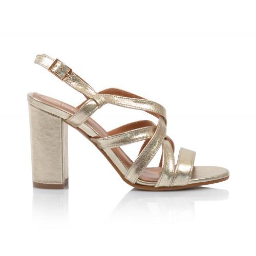Dámske sandále na podpätku 2308-65 zlatá