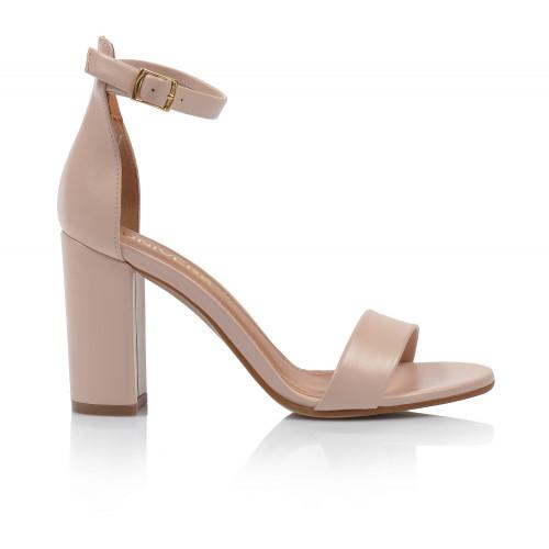 Dámske sandále na podpätku 2309-330 púdrová