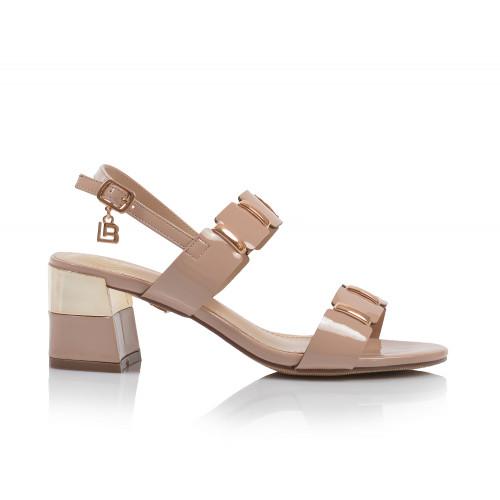 Dámske sandále na podpätku 6139 púdrová LAURA BIAGIOTTI