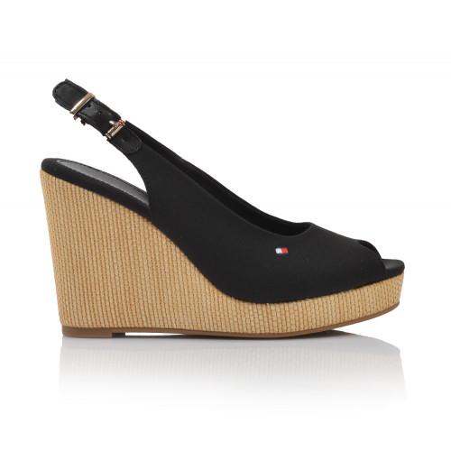 Dámske sandále na platforme fw04789 čierna TOMMY HILFIGER